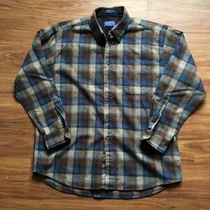 Brown and blue Pendleton wool flannel